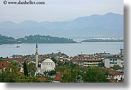 cityscapes, europe, fethiye, horizontal, mosques, mountains, turkeys, photograph