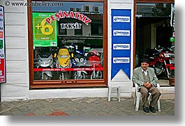 europe, fethiye, horizontal, men, motorcycles, old, stores, turkeys, photograph