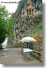europe, fethiye, stones, tombs, turkeys, umbrellas, vertical, photograph