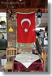 dining, europe, fethiye, flags, tables, turkeys, turkish, vertical, photograph