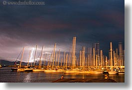 boats, dusk, europe, finike, harbor, horizontal, lightning, long exposure, storm, turkeys, photograph