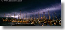 boats, dusk, europe, finike, harbor, horizontal, lightning, panoramic, slow exposure, storm, turkeys, photograph