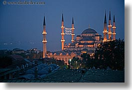 blue mosque, dusk, europe, horizontal, istanbul, minaret, mosques, religious, turkeys, photograph
