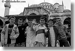 black and white, blue mosque, boys, childrens, europe, horizontal, istanbul, mosques, religious, turkeys, turkish, photograph