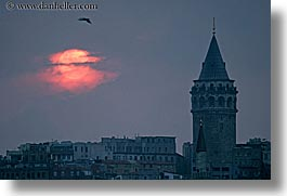 cityscapes, europe, galata, horizontal, istanbul, sunsets, towers, turkeys, photograph