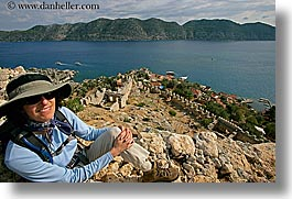 architectural ruins, europe, horizontal, kale island, ocean, overlook, turkeys, womens, photograph