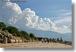 architectural ruins, clouds, europe, horizontal, kalkan, turkeys, walkers, photograph