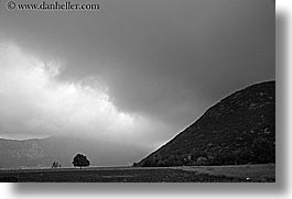 black and white, clouds, europe, horizontal, kalkan, trees, turkeys, photograph