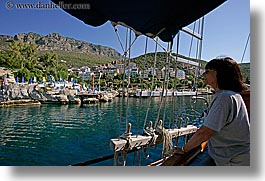 europe, harbor, horizontal, kas, looking, tourists, turkeys, water, womens, photograph