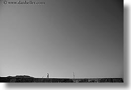 black and white, europe, horizontal, kas, men, silhouettes, turkeys, walking, walls, photograph
