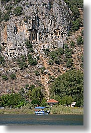 boats, europe, kaunos, temples, tombs, turkeys, vertical, photograph