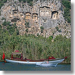 boats, europe, kaunos, square format, temples, tombs, turkeys, photograph