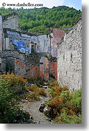 ancient, architectural ruins, europe, frescoes, kaya koy, turkeys, vertical, photograph