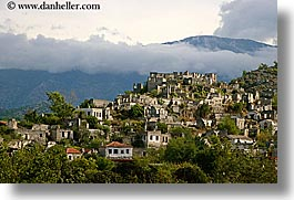 clouds, europe, horizontal, kaya koy, turkeys, villages, photograph