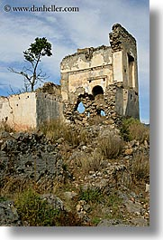 architectural ruins, europe, houses, kaya koy, ruin, turkeys, vertical, photograph