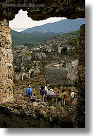 architectural ruins, europe, hiking, kaya, kaya koy, koy, overview, turkeys, vertical, photograph