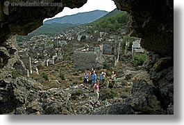 architectural ruins, europe, hiking, horizontal, kaya, kaya koy, koy, overview, turkeys, photograph