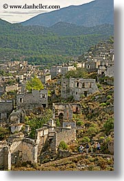 architectural ruins, europe, kaya, kaya koy, koy, overview, turkeys, vertical, photograph