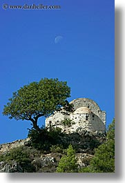 buildings, europe, kaya koy, moon, trees, turkeys, vertical, photograph