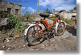 europe, horizontal, kaya koy, motorcycles, old, turkeys, photograph