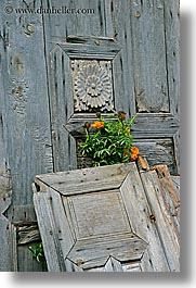 doors, europe, flowers, kaya koy, old, turkeys, vertical, woods, photograph