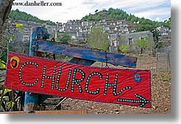 churches, europe, horizontal, kaya koy, red, signs, turkeys, photograph