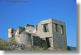 architectural ruins, europe, horizontal, kaya koy, moon, turkeys, photograph