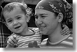black and white, childrens, europe, fathers, girls, horizontal, lydea, mothers, mutlu family, toddlers, turkeys, photograph
