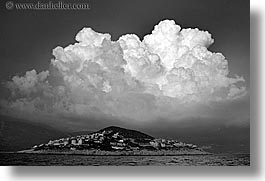 black and white, clouds, europe, horizontal, islands, ocean, ocean scenics, turkeys, photograph
