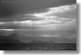 black and white, clouds, europe, horizontal, ocean, ocean scenics, sunrays, turkeys, photograph