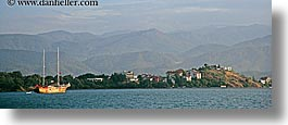 bay, boats, europe, horizontal, ocean, ocean scenics, panoramic, sailboats, turkeys, photograph