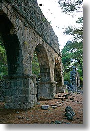 aquaduct, arches, architectural ruins, archways, europe, phaselis, turkeys, vertical, photograph