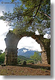 aquaduct, arches, architectural ruins, archways, europe, phaselis, trees, turkeys, vertical, photograph