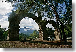 aquaduct, arches, architectural ruins, archways, europe, horizontal, phaselis, trees, turkeys, photograph