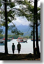 couples, europe, harbor, people, phaselis, silhouettes, trees, turkeys, vertical, photograph