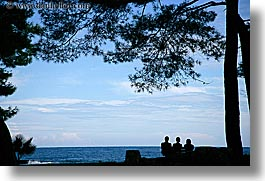 europe, horizontal, ocean, people, phaselis, silhouettes, trees, turkeys, photograph