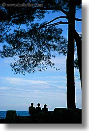 europe, ocean, people, phaselis, silhouettes, trees, turkeys, vertical, photograph