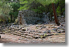 architectural ruins, europe, horizontal, phaselis, roman, trees, turkeys, photograph