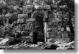 architectural ruins, archways, black and white, europe, horizontal, phaselis, roman, turkeys, photograph