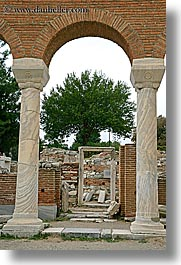 architectural ruins, archways, europe, pillars, st johns basillica, turkeys, vertical, photograph
