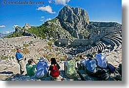 amphitheater, europe, horizontal, termessos, tourists, turkeys, photograph