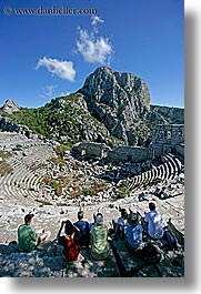 amphitheater, europe, termessos, tourists, turkeys, vertical, photograph