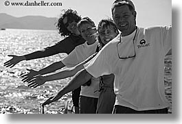 black and white, europe, groups, hands, horizontal, laugh, ocean, people, tourists, turkeys, womens, photograph