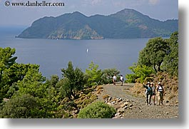 europe, groups, hiking, horizontal, ocean, paths, people, tourists, turkeys, walk, photograph