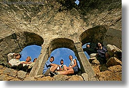 arches, architectural ruins, europe, groups, horizontal, people, tourists, tours, turkeys, windows, photograph