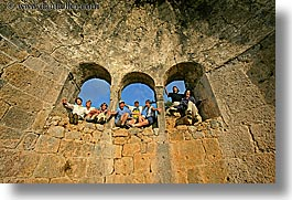 arches, architectural ruins, europe, groups, hands, happy, horizontal, laugh, people, tourists, tours, turkeys, windows, photograph