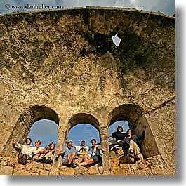 arches, architectural ruins, europe, groups, hands, happy, laugh, people, square format, tourists, tours, turkeys, windows, photograph