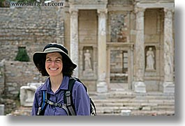 architectural ruins, ephasus, europe, happy, hats, horizontal, library, lori, tourists, turkeys, womens, photograph