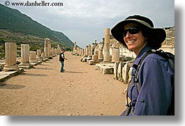 architectural ruins, ephasus, europe, happy, hats, horizontal, lori, tourists, turkeys, womens, photograph