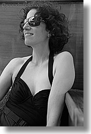 bathingsuit, black and white, europe, happy, lori, sunglasses, tourists, turkeys, vertical, womens, photograph